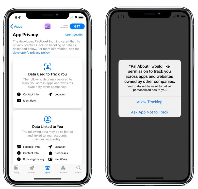 | iOS14부터는 앱 데이터를 사용하라 때 반드시 사용자 동의를 얻어야 한다.