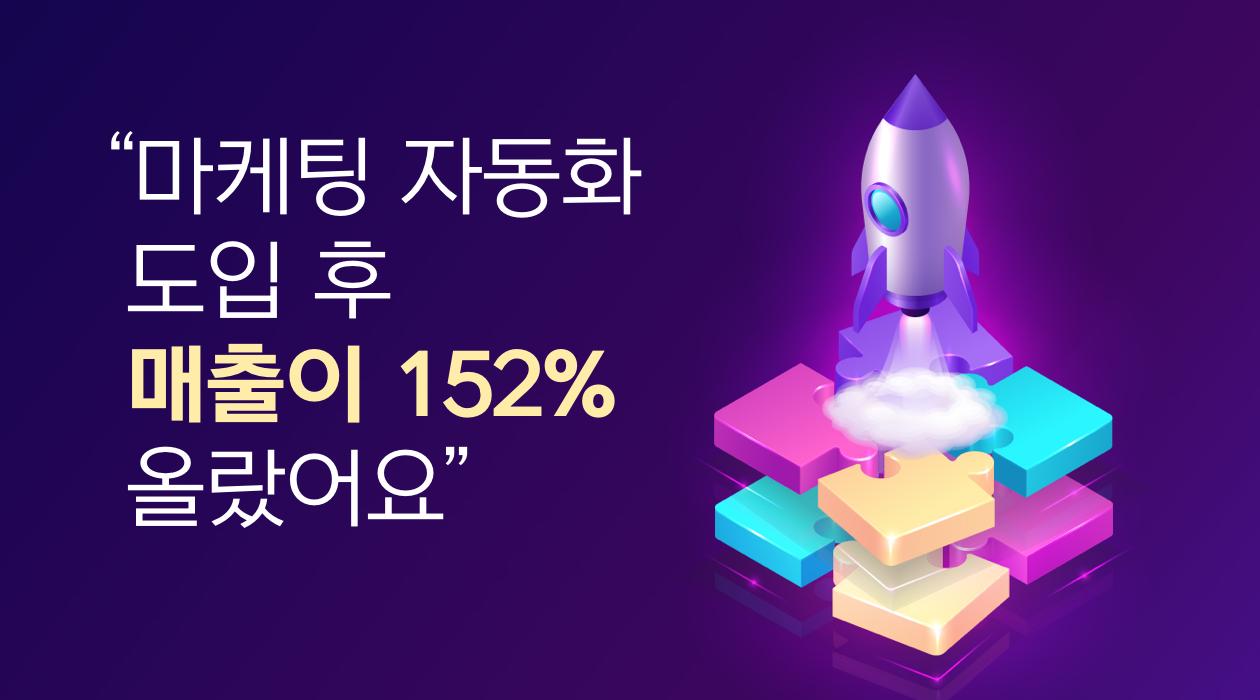 TasOn 마케팅자동화 도입 후 매출이 152% 올랐어요